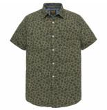 PME Legend Psis193220 6414 short sleeve shirt poplin print ethan dusty olive groen