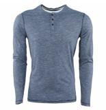 Earthbound Heren shirt ronde hals knopen blauw