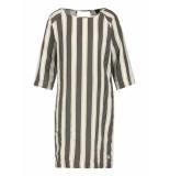Penn & Ink Dress stripe s19f532 zwart