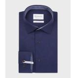 Michaelis Navy uni overhemd met donkere knoop (extra lange mouwen) blauw