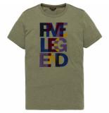 PME Legend Ptss193520 6414 r-neck melange jersey dusty olive groen