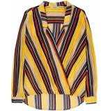 10 Feet Crossover blouse in sheer stripe chiffon goud