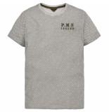 PME Legend Short sleeve r-neck slub jersey ao bright white grijs
