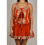By Pixie Mirrow open jurk oranje bruin
