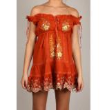 By Pixie Royal mini jurk oranje bruin