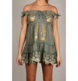 By Pixie Royal mini jurk - groen