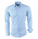 Ferlucci Heren overhemd met trendy design slim fit calabria licht blauw