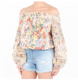 Miss June Top floral roze