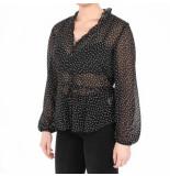 NA-KD A-kd dot frill blouse zwart
