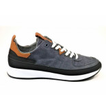 Hub  Sneaker linnen blauw