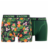 Zaccini 2pack boxershorts pineapple uni donker groen