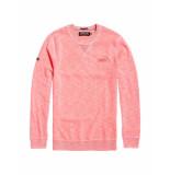 Superdry Trui garment dye la crew washed neon pink roze