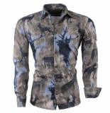 Ferlucci Heren overhemd met trendy design kaki khaki