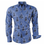 Ferlucci Heren overhemd kerstbomen blauw