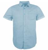 Indicode Heren korte mouw overhemd borstzak trendy design charlton alaska blue blauw