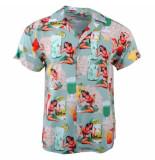 Indicode Heren korte mouw overhemd borstzak gathorne hawaï blue surf blauw
