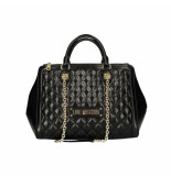 Moschino Love quilted double handle tas zwart