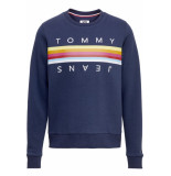 Hilfiger Denim Tjw rainbow tommy tape crew black iris blauw