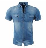 Paname Brothers Heren korte mouw jeans overhemd borstzakken paint splash slim fit blauw