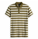 Scotch & Soda Classic striped jersey polo groen