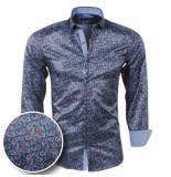 rVvaldi Heren overhemd paisley slim fit staal blauw