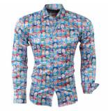 Pradz 2018 Heren overhemd skull amor slim fit blauw