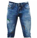 Bravo Jeans Heren jeans damaged look color splash skull slim fit stretch lengte 34 blauw