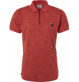 No Excess Polo, s/sl, half zip, grindle yarn red rood