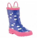 Regatta Regenlaars minnow junior welly peony pretty pink blauw