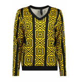 IZ NAIZ Blouse graphic 3576 yellow geel