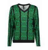 IZ NAIZ Blouse graphic 3576 green groen