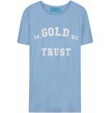 FRANZEL AMSTERDAM : in gold we trust logo midden t-shirt lichtblauw