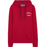 FRANZEL AMSTERDAM : in gold we trust logo chest hoodie - rood
