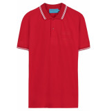 FRANZEL AMSTERDAM : in gold we trust polo two stripe - rood