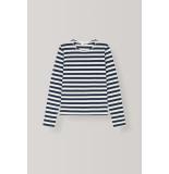 Ganni Trui striped cotton jersey pullover blauw