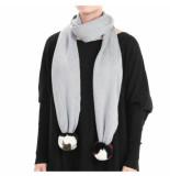Reinders Reiders pompom shawl grijs