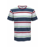 Only & Sons Onslex ss reg striped tee 22012625 white/red/navy/green
