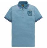 PME Legend Short sleeve polo two tone pique mykonos blue blauw