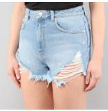 NA-KD A-kd ripped denim shorts blauw
