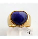 Atelier Christian Gouden harten ring met lapis lazuli geel goud