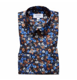 Eton Overhemd bloemenprint contemporary fit blauw