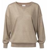 YAYA – lurex sweater with deep vneck bruin