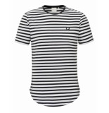 Zumo T-shirt bundy denim stripe wit