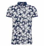 Tom Tailor Heren polo palm wit blauw