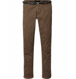 Maison Scotch 140711 17 'slim chino' pant in peached twill quality, sold with a belt combo a groen