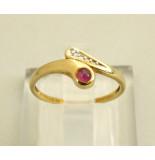 Christian Gouden ring met robijn en diamant geel goud