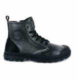 Palladium Women pampa hi zip pony black silver zilver