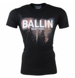 Ballin New York Heren tshirt ronde hals slim fit paint splash zwart