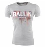 Ballin New York Heren tshirt ronde hals slim fit paint splash grijs
