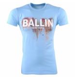 Ballin New York Heren tshirt ronde hals slim fit paint splash licht blauw